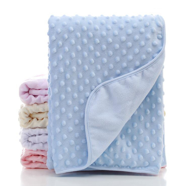 Baby Blankets Minky Bubble Dot Blankets Swaddling Cellular Cotton Peas Blankets Soft Foam Throw Rugs Sleeping Bag Solid Quilt Bedding LT738