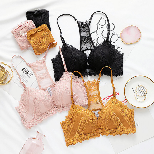 sexy thicken Cups Bras panty Lingerie Set Front Button tranparent Bra Briefs sets French lace bralette push up Underwear For Women