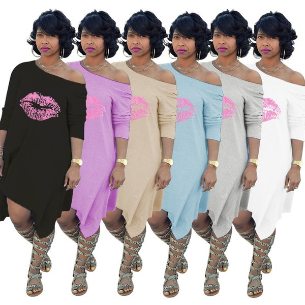 Lips Print Casual T Shirt Dress Autumn O Neck Wrist Sleeve Irregular Dress Women White/Gray Loose Vestidos Streetwear Plus size 3XL