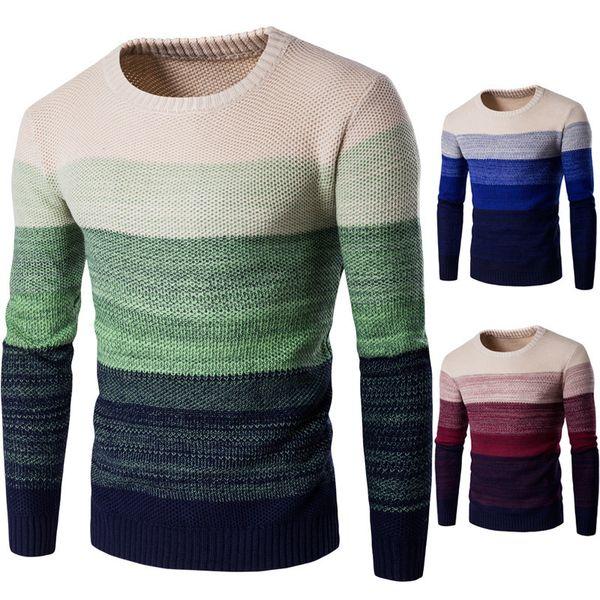 HEFLASHOR Marke Männer gestreiften Pullover Klassisch O-Ansatz Patchwork Warm Pollover Herren Kleidung Herbst-Winter-lange Hülsen-Strickjacke