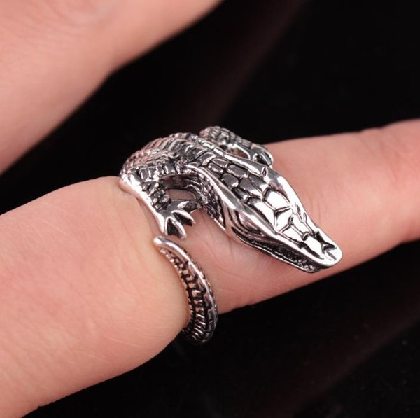 Adjustable Finger Personality Ring Crocodile Shape 3D Stereoscopic Trendy Style Heavy Metals Punk Rock Rings Women Man Party Jew
