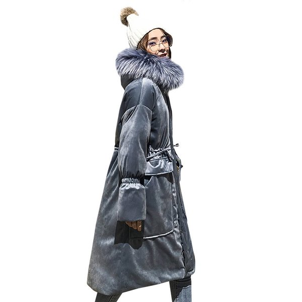 2019 Ukraine Down Cotton Parka Winter Jacket Women Bread Clothes Big Hair Collar Velvet Long Cotton Padded Coat Female QH123