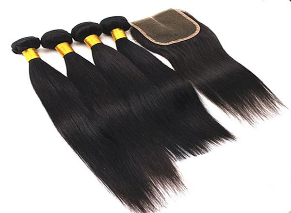Extensions de cheveux raides avec fermeture de cheveux 4x4 indien péruvien 100% non-traité de cheveux indiens avec fermeture de partie libre 8-28 pouces