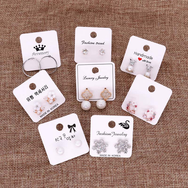 500pcs/lot Jewelry Packaging Display Card Earring Studs Packing Hang Tag Card Rectangle Holder Price Label