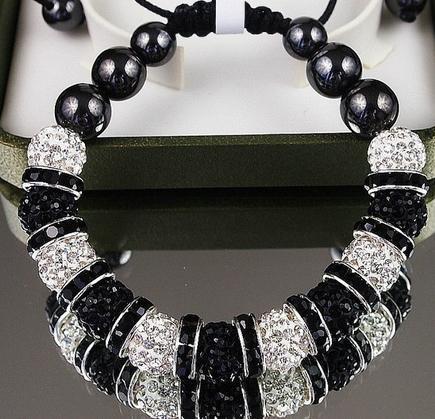 10mm weiß schwarz New Style Disco Ball Perlen Kristall Kristall Armband. fasion armbänder für kind b3434