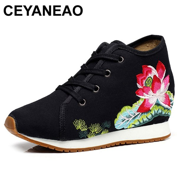 CEYANEAOWomenShoes Lotus Floral Embroidery Travel Canvas Chinese Lace Up Casual Cotton Cloth Platforms Shoes Woman Sapato Femino