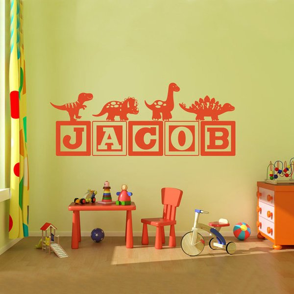 Brand-new Boys Dinosaur Blocks Name Wall Decal Nursery Room Kids Vinyl Wall Graphics Decor Sticker -You Choose Name& Color