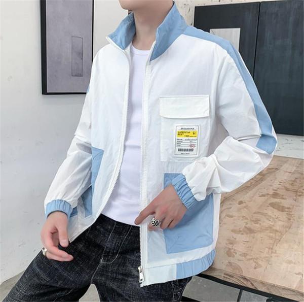 Verão Lapela Pescoço Protetor Solar Painéis Casacos Mens Manga Comprida Fina Adolescente Mens Outerwear Masculino Roupas