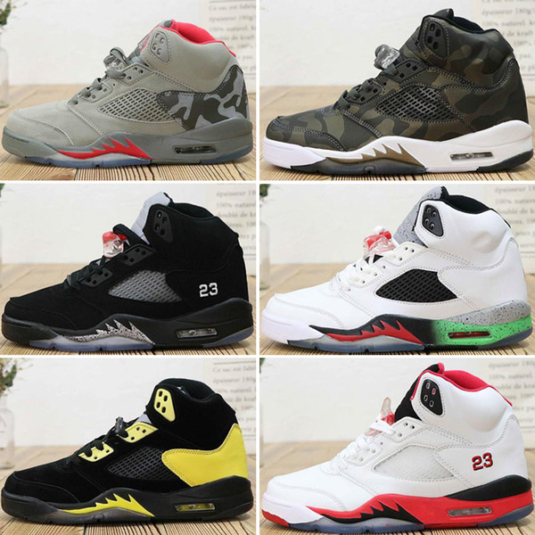 New 5s mens basketball shoes Space Jam Metallic Silver Black white Grape Blue suede Oreo men trainers sneaker 5 sports shoe size 8-13 lat