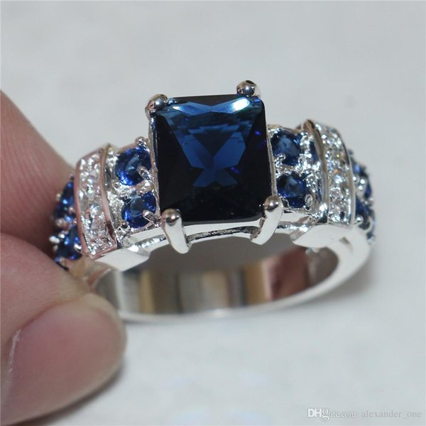 Sparkling Lady's Blue Sapphire Cubic Zirconia Gem Stone Jewelry Fashion 925 Sterling Silver Engagement Wedding Rings for Women