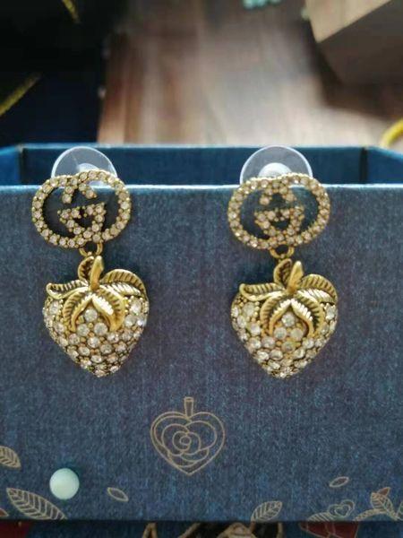 best selling New Designer Full Rhinestone Letter Tassel Earrings For Women fashion Stud Earring Jewelry Gifts Gold and silver