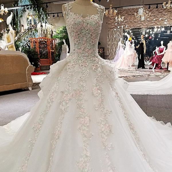 Farbe Blumen Brautkleider Weiß Ärmelloses Schlüsselloch Zurück Mehr Schichten Langer Zug Sexy Brautkleider Echte Bilder