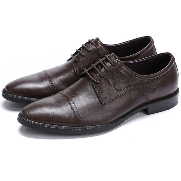 Large Size EUR46 Black / Brown Dress Shoes Mens Wedding Shoes Sheepskin Leather Office Business Shoes