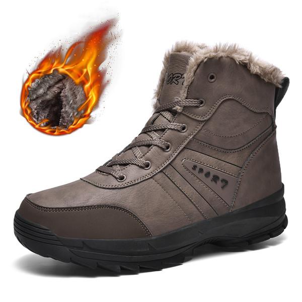 new winter boots men outdoor sport hiking shoes waterproof genuine leather nonslip sneakers men plush trekking climbing boots