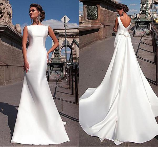 2019 Cheap Charming Bateau Neckline Mermaid Wedding Dresses With Detachable Train vestidos de novia Backless Satin Plus Size Wedding Gowns