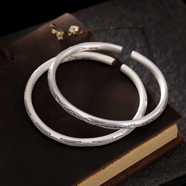 A Deer Silver S999 Foot Silver Retromade Old Matt Embossed Personality Simple Open Bracelet Ring for Men and Women