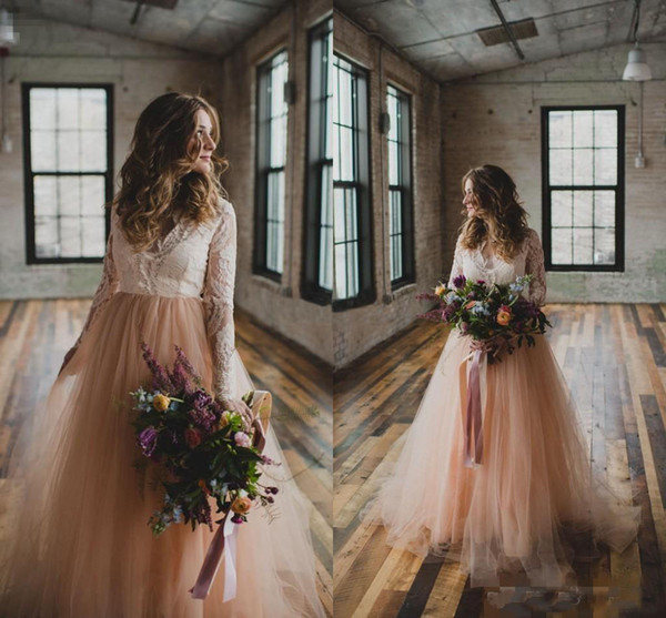 New Country Wedding Dresses with Long Sleeves Lace Blush Tulle V Neck 2018 Bohemia Beach Wedding Gowns Plus Size Bridal Wedding Gowns Cheap