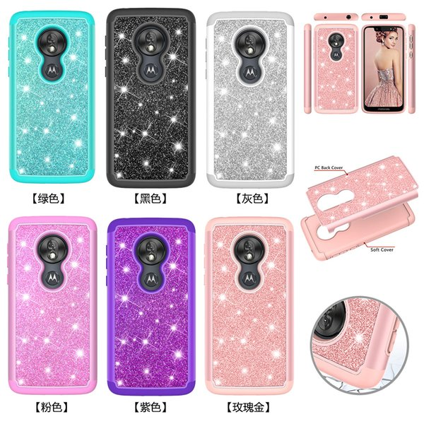 For iphone samsung Motorola Moto G7 Power G7 Play G7 Plus Z4 Play G6 Play 2-in-1 TPU drill powder 360° protection phone case