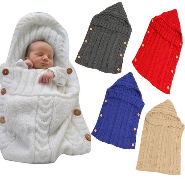 1PCS 아기 단단히 싸는 랩 따뜻한 크로 셰 뜨개질 니트는 신생아에 적합한 가방 유아 유아 가을 겨울 부드러운 담요 잠자는