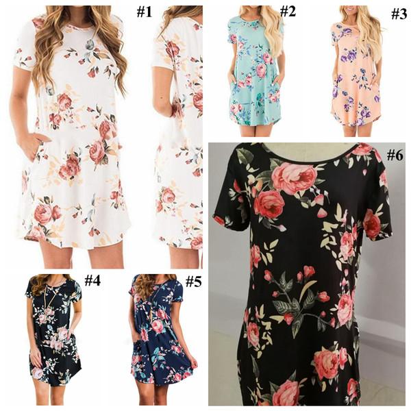 Womens Floral Dresses 6 Colors Summer Short Sleeve Pocket Mini Dress Ladies Beach Evening Party Sundress yy
