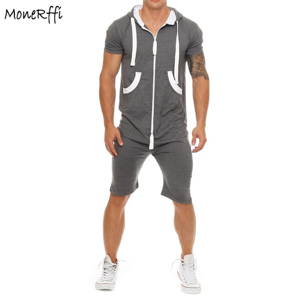 96b7e97b16e MoneRffi Men s Zipped Hooded Jumpsuit Short Sleeve Hoodies Casual Rompers  Shorts For Male Overalls Clothing Plus Size Sportswear