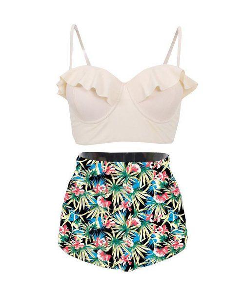 Multicolor Floral bedruckten Badeanzug Frauen sexy Split Badeanzug Sommer Strand WearHot Verkauf hohe Taille Bikini