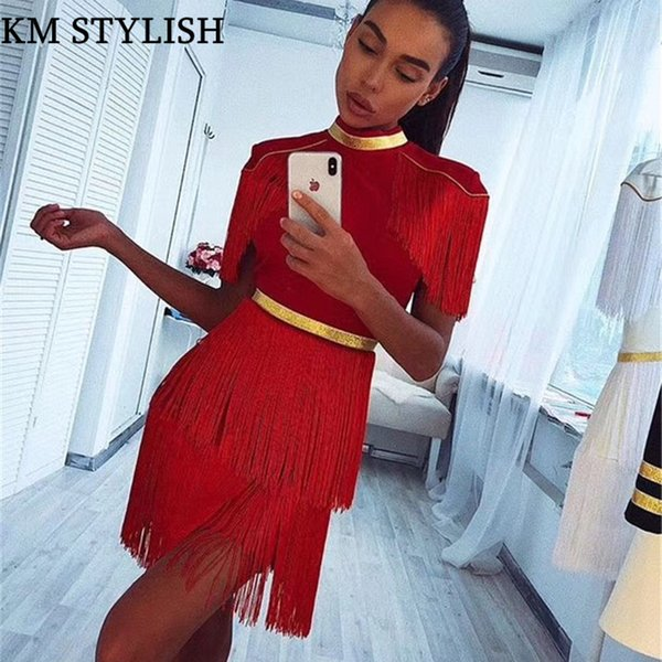 2019 Early Spring New High-end Celebrity Runway Fashion High Street Stand Collar Cloak Sleeve Vintage Women's RED Tassel Dresses