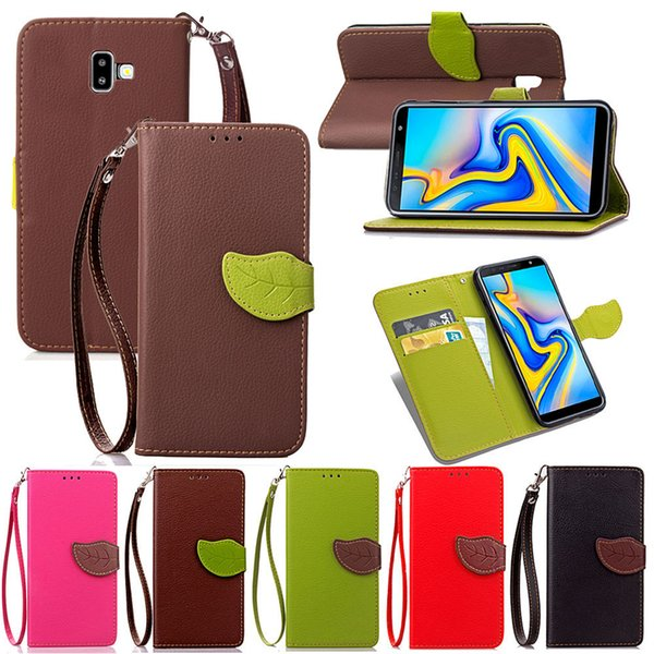 For Samsung Galaxy J6 Plus Leaf Shape Flip Cell Phone Soft PU Leather Wallet Case with Bank Card Holder Strong Hand Strap