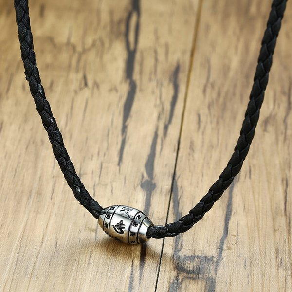 Om Halskette Leder schwarz Buddha Herren Damen neu Lederkette Kette Necklace
