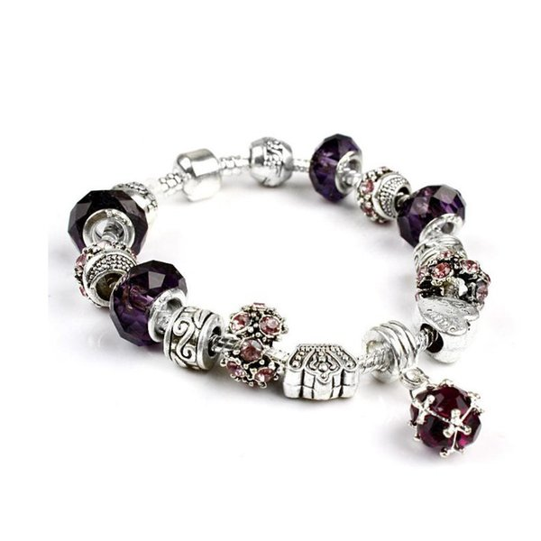 10 Colors Fashion 925 Sterling Silver Daisies Murano Glass&Crystal European Charm Beads Fits Charm bracelets Style Bracelets 20cm with logo