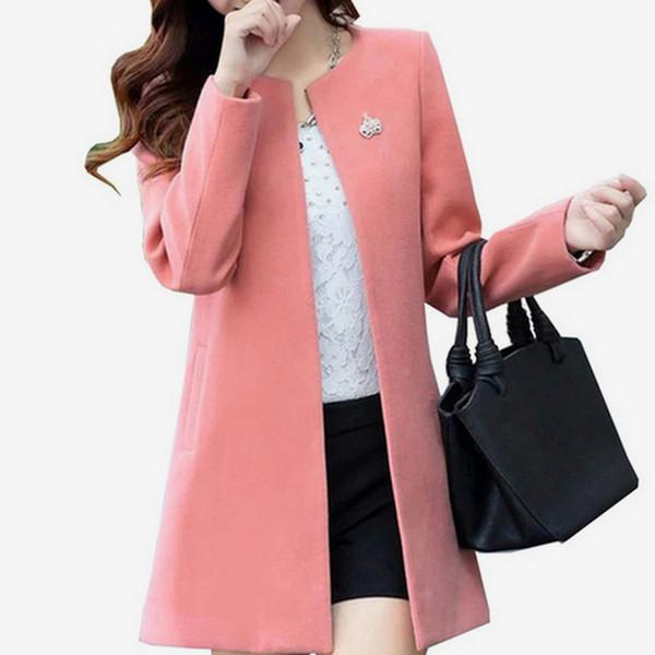 Women Autumn A Line Long Wool Coats 2018 Winter Casual O Neck Streetwear Woolen Fashion Jackets Female Slim Solid Thin Outwears