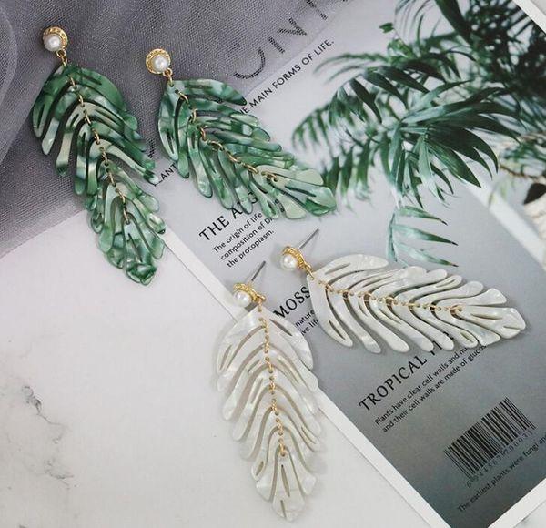 Lange baumeln Harz grün lässt Ohrringe Partei Schmuck Accessoires handgemachte Mode Acryl Ohrringe für Frauen GB1085