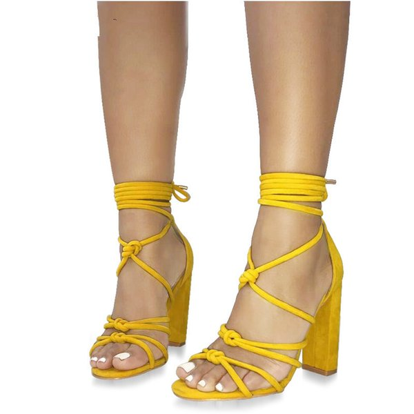 Fashion Women Sandals Bandage Ankle Strap Cross-tied Super High Heels Lady Lace-up Pumps Sandals Shoes Yellow Black