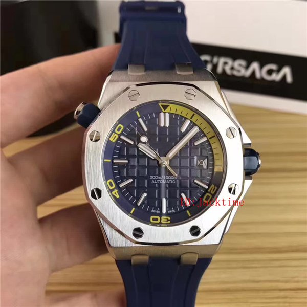 6 Style Stainless Steel Sports Luxury Watch 42mm Offshore Diver 15703 15710ST Transparent Mechanical Automatic Rubber Strap Mens Watches
