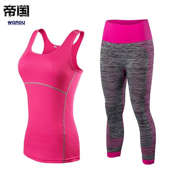 YENI Hızlı Kuru Spor Spor Tayt Kadın Kolsuz T gömlek Kostüm Spor Tayt Spor Takım Elbise Katı Pembe Üst Yoga Set kadın Eşofman