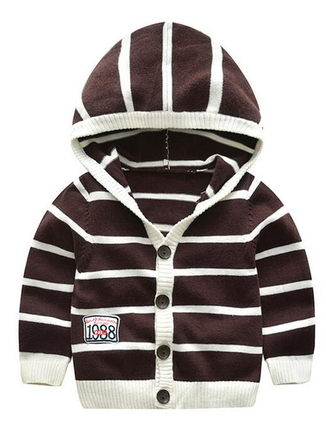 Baby Striped Sweater Children Hooded Neck Cardigan Brown and White Combo Color Soft Handfeel Anti-pilling Combed Cotton