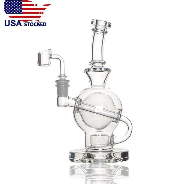 USA Stocked Glas Bong CCG Ball Rig mit Blume des Lebens Perc 8,5 Zoll Höhe 14,5 mm Gelenk