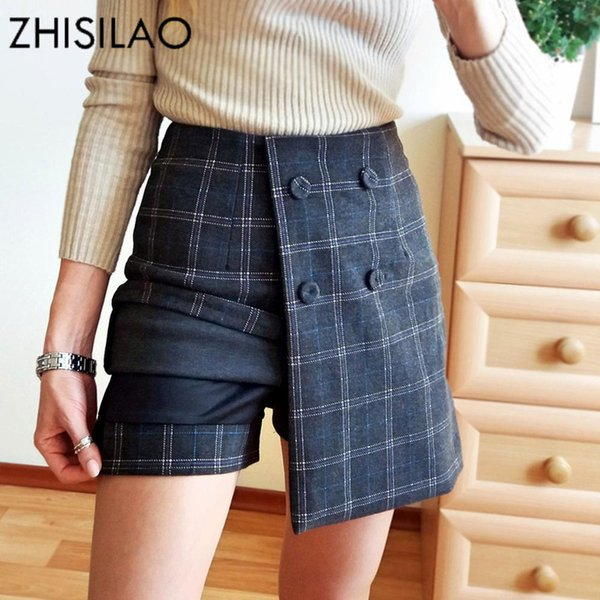 Zhisilao Winter Wool Skirts High Waist Plaid Skirts Ladies Skinny Bodycon Skirts Irregulate Jupe Sexy Mini Petticoat Lattice Y19060301