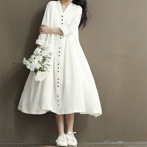 Johnature Cotton Linen White Color Women Dress 2019 Spring New Long Sleeve Stand Neck Loose Bat Sleeve Irregular Dresses J190529