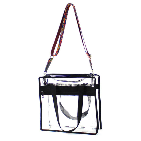 Crossbody Transparent Bags For Women 2018 Summer Chic Large Size Pvc Clear Handbags For Shopping Girls Beach Tote Shoulder Bags Y19061204