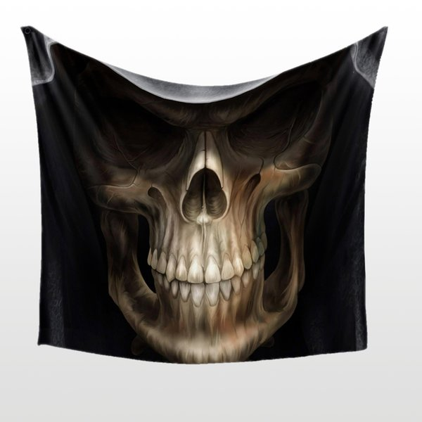 Horrible Gifts for Hallowmas day Coolest skull Head wear a hat Printed Tapestry Hanging Wall Decoration Art BeachTowel Shawl All Saints day