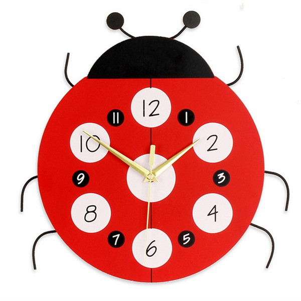 Bande Dessinée Calme Horloge Murale Montre Enfant Enfants Horloges Murales En Bois Design Moderne Salon Simple Face Horloges 3d Saat Sans Batterie
