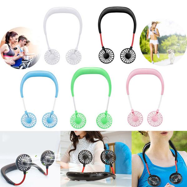 Portable Hanging Neck Fan 5 Colors USB 1200mAh Rechargeable Travel Lazy Sports Dual Cooling Neckband Fans Creative Mini Fans Gadget