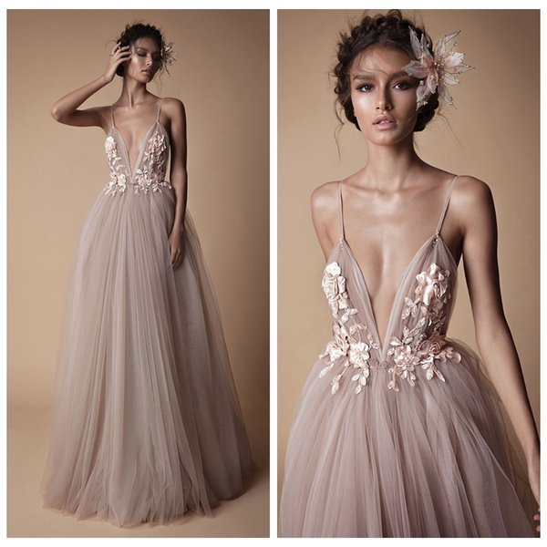 2018 Berta Evening Wear Formal Dresses Sheer Tulle Lace Floral Spaghetti Straps Sweep Train Backless Long Party Prom Dress