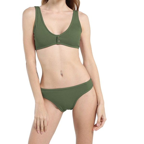 Solid Army Green Wine swimming suit for women Nylon Summer 2019 2 pieces bikini Mid waist swimsuit #5