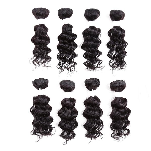 """Hot selling fashion short human hair extensions 8"""" 8PCS/Lot pure black deep wave/kinky curly hair weaves for Afro"""