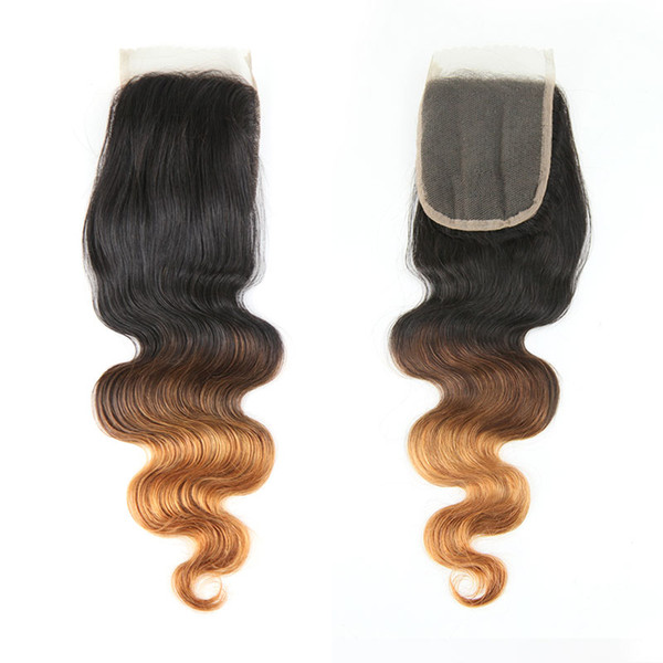 Brezilyalı Vücut Dalga 4 * 4 Dantel Kapatma% 100% İnsan Saç Dokuma Ombre Renk 1B / 4/27 1B / 4/30 Remy Saç Uzantıları