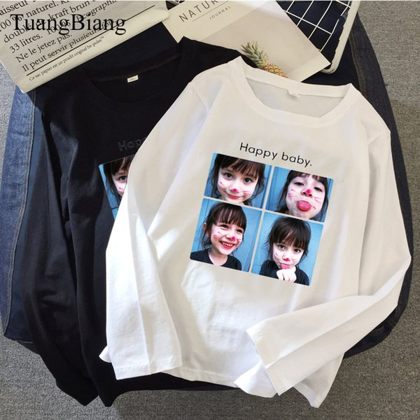 Happy baby Print Women O-Neck T shirts Ladies Full sleeve Loose ulzzang Cotton T-shirt Character Autumn Simple Casual Basic Tops