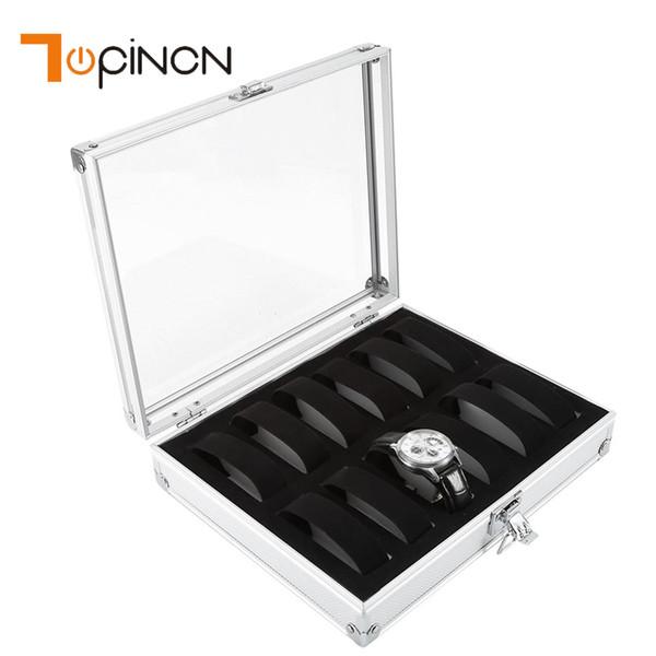 6/12 Grid Insert Slots Jewelry Watches Display Storage Box Case Aluminium Watch Box With Acrylic Window Jewelry Organizer