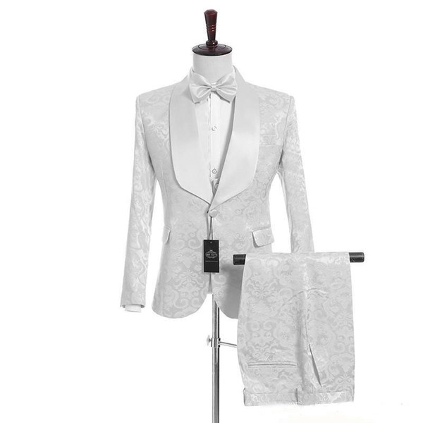 Customize Shawl Lapel Handsome White Groom Tuxedos (Jacket+Pants+Vest) Groomsmen Best Man Suit Mens Wedding Suits Bridegroom